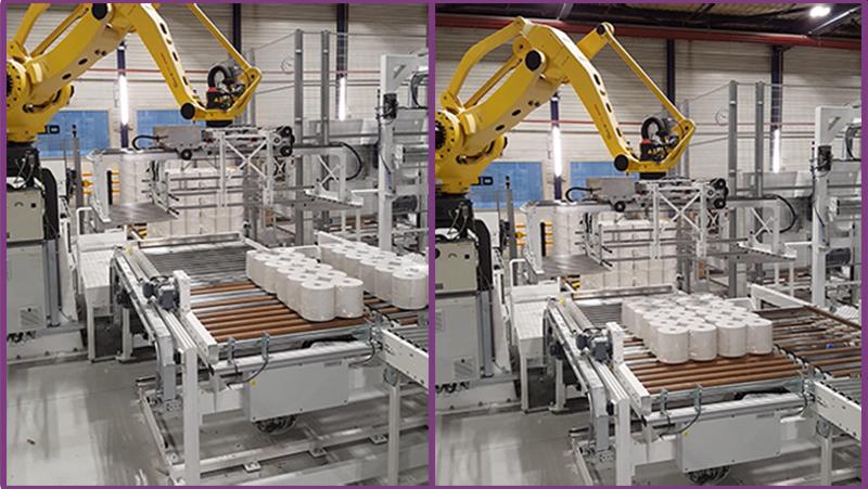 Le robot palettiseur et formation de la couche de manière classique